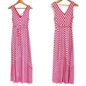 JESSICA SIMPSON women's maternity v-neck sleeveless maxi dress pink striped